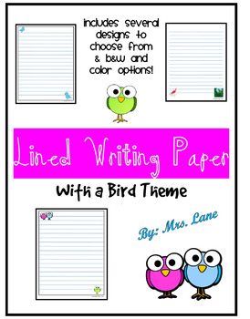 Lined Writing Paper With a Bird Theme