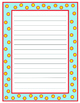 Lined Writing Paper with Stars (Light Blue, Yellow, and Red)