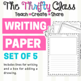 Lined Writing and Drawing Paper - Doodle Frame - Border Paper - Set of Five