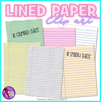 Lined paper and sticky notes clip art bundle