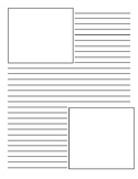 Lined writing paper template with two picture boxes