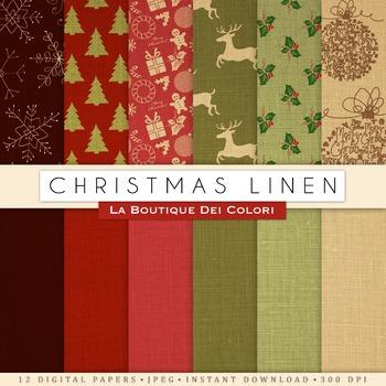Linen Christmas Digital Paper, scrapbook backgrounds.