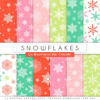 Christmas Snowflakes Digital Paper, scrapbook backgrounds