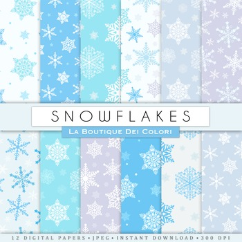 Blue Christmas Snowflakes Seamless Digital Paper, scrapbook backgrounds