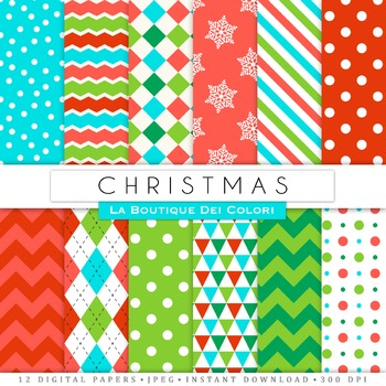 Red and Green Christmas Seamless Digital Paper, scrapbook backgrounds
