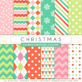 Red Green, Pink Christmas Seamless Digital Paper, scrapbook backgrounds
