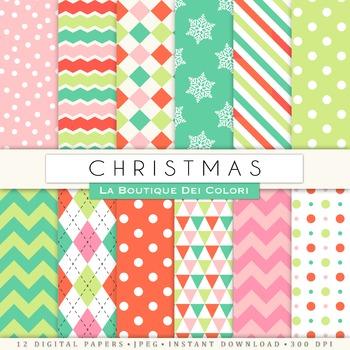 Red Green, Pink Christmas Seamless Digital Paper, scrapboo