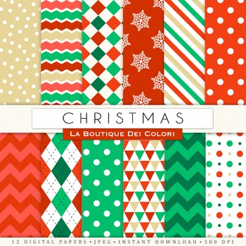 Red Green and Gold Christmas Seamless Digital Paper, scrapbook backgrounds
