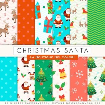 Santa and Reindeer Christmas Digital Paper, scrapbook backgrounds