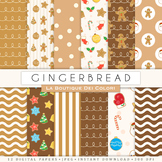 Gingerbread Man Seamless Digital Paper, scrapbook backgrounds