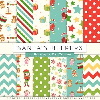 Santa's Little Helpers Christmas Digital Paper, scrapbook backgrounds