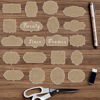 Linen Digital Labels, Burlap Frames Clip Art