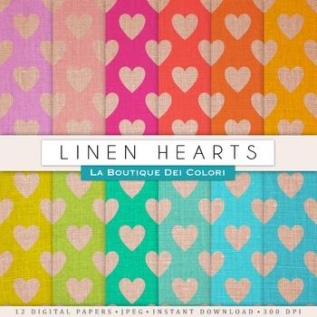 Linen Hearts Digital Paper, scrapbook backgrounds