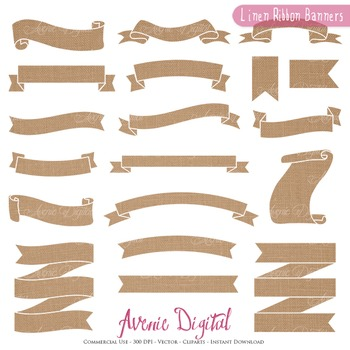 Linen Ribbon Banners clip art - Fabric Burlap ribbons clipart, frame, labels