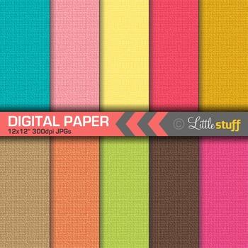 Linen Texture Digital Paper in Tropical Colors, Cloth Text