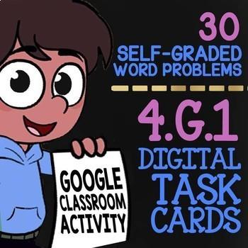 Lines & Angles Activity ★ 4th Grade Google Classroom Math ★ 4.G.1 Task Cards