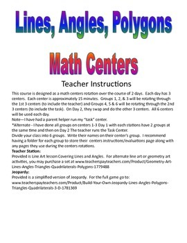Lines, Angles, Polygons Math Centers and Activities