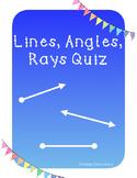 Lines, Angles, Rays Quiz