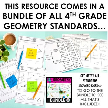Lines, Angles, Rays Worksheets Tests 4th Grade Geometry 4.G.1 (differentiated)