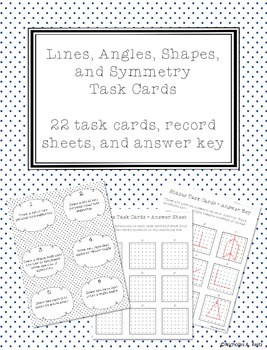 Lines, Angles, Shapes, and Symmetry Task Cards
