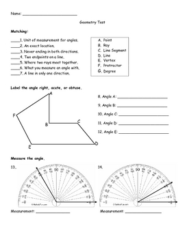 Lines & Angles Test