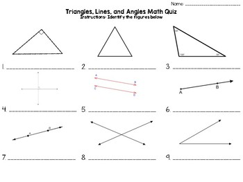 Angles of triangles quiz teaching resources teachers pay teachers angles triangles math quiz ccuart Images