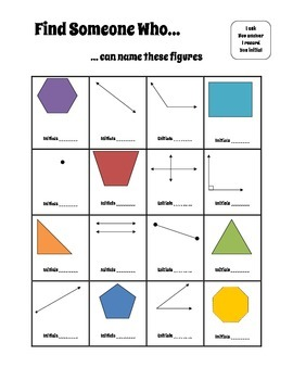 Lines, Angles, and Polygons - Find Someone Who