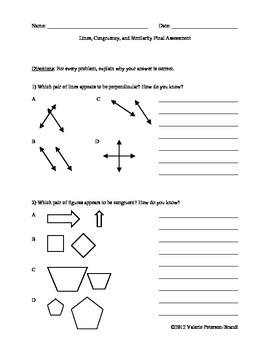 Lines, Congruency, and Similarity Assessments