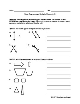 Lines, Congruency, and Similarity Homework (5 assignments)