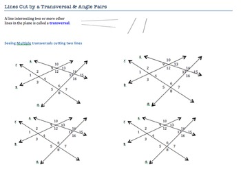 Lines Cut By a Transversal and Special Angle Pairs Notes