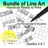 Art Lessons - Bundle of Line Drawings Ready to Print - Thi