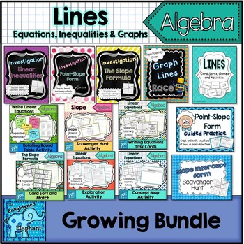 Lines: Equations, Inequalities and Graphs Growing Bundle