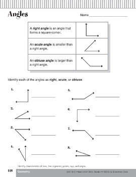 Lines, Line Segments, Points, Rays, and Angles