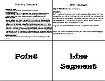 Lines, Line Segments, Rays, and Angles Memory or War Game