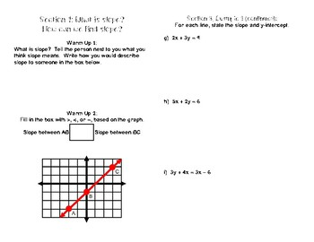 Lines & Linear Equations Unit Booklet (1 of 2)