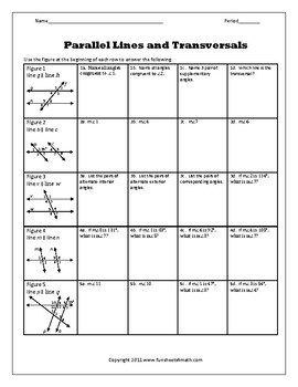 Parallel Lines And Transversals Worksheet Bundle By Funsheets4math