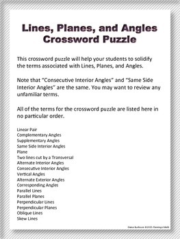 Lines, Planes, Angles Crossword