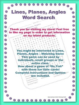 Lines, Planes, Angles Word Search