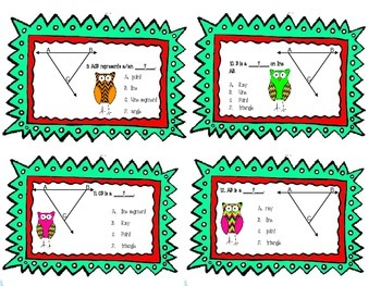 Lines, Points, Rays, and Angles Task Cards Funky Owl Themed