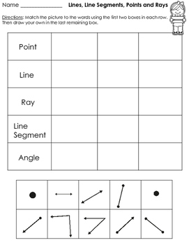 Geometry - Lines, Rays, Points, and Angles Geometry Figures Printables