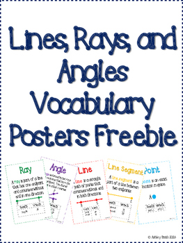 Lines, Rays, and Angles Vocabulary Posters Freebie