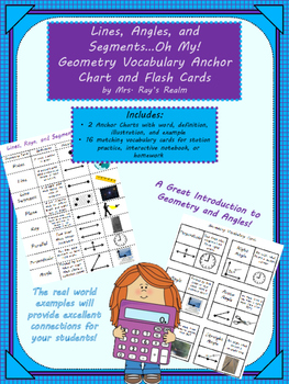 Lines, Angles, and Segments Oh My: Geometry Vocab. Anchor Chart and Flash Cards