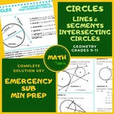 Lines & Segments that Intersect Circles Handout Lesson Wks