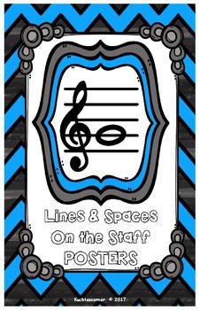 Lines & Spaces On The Staff-Posters Black/Blue Chevron-Ledger 11x17 PDF