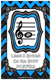 Lines & Spaces On The Staff-Posters Black/Blue Chevron-Led