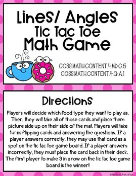 Lines and Angles 4th Grade Math Game File Folder Game