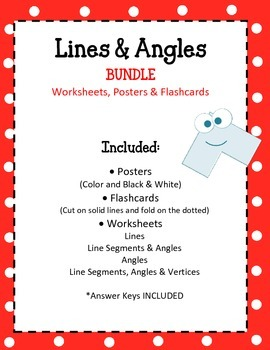 Lines and Angles Bundle Worksheets Posters Flashcards. Math Centers Review