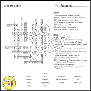 Lines and Angles Crossword Puzzle