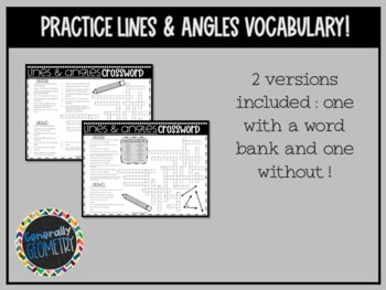 Lines and Angles Crossword ... by Generally Geometry | Teachers ...