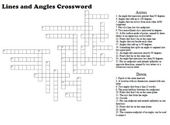 Lines and Angles Crossword Puzzle; Geometry by Generally Geometry